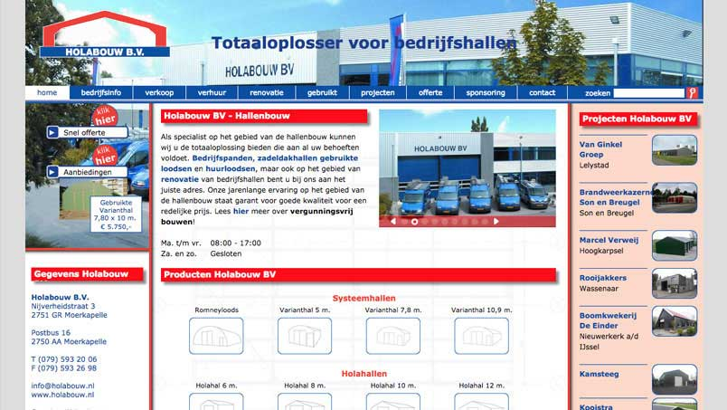 Website - Hola Bouw, Moerkapelle