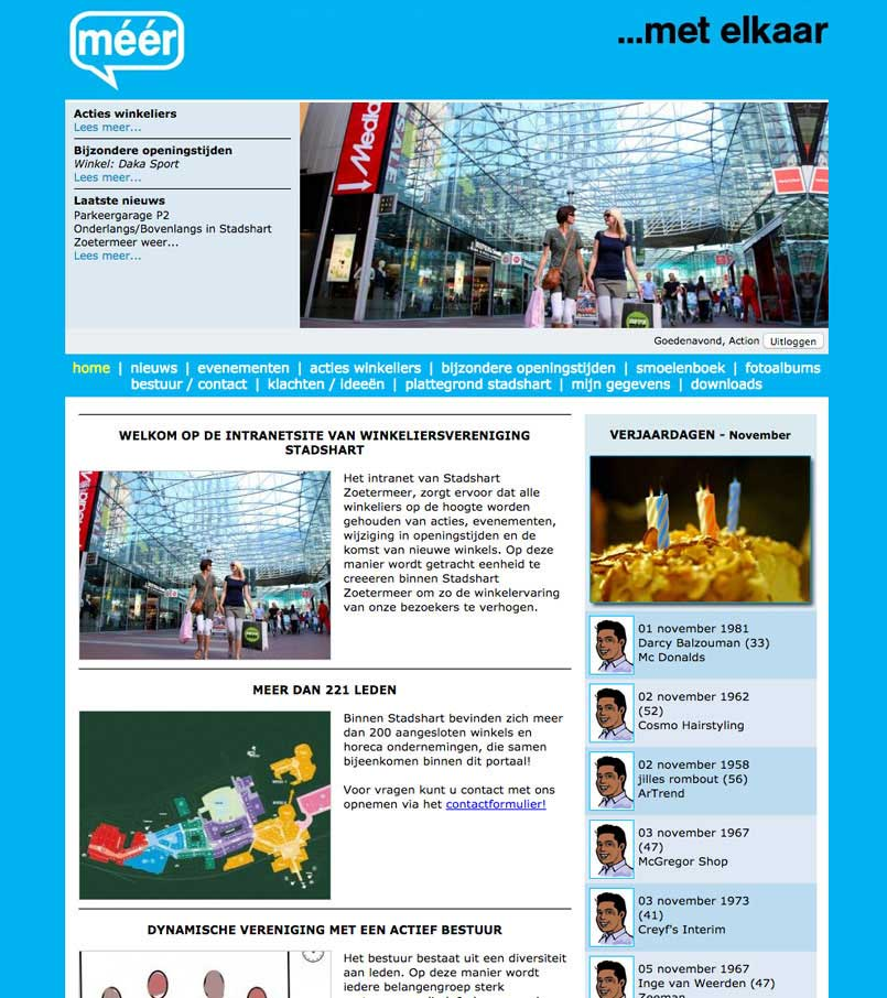 Website - Intranet Winkeliers Stadshart, Zoetermeer