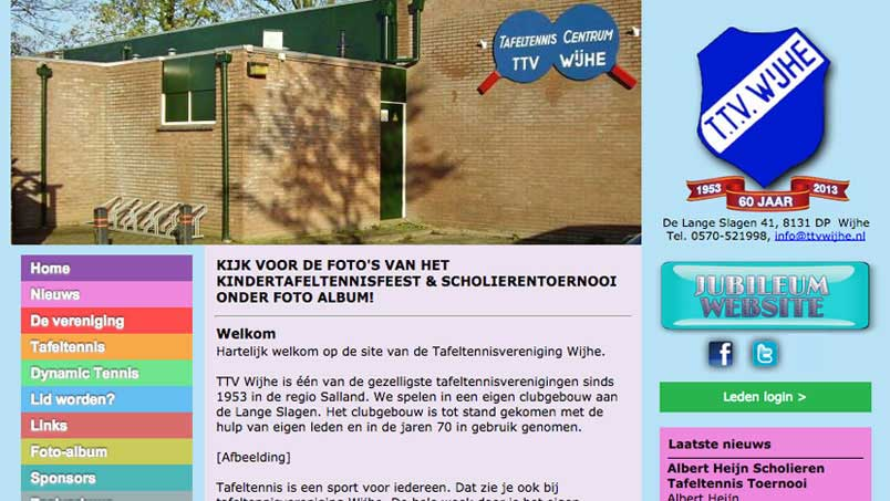 Website - Tafeltennisvereniging Wijhe